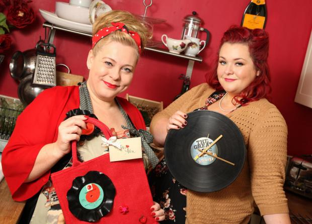 BUSINESS VENTURE: Karen Riley (left) and Donna Feeney who run their own vintage upcycling business, Totes Adore.