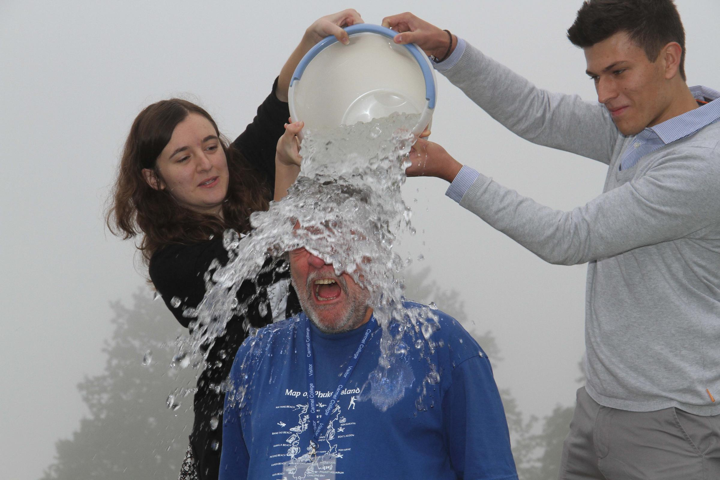 Darlington council leader Bill Dixon takes on the ice bucket challenge with Carmel College principal
