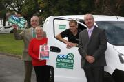 CONCERTED CRACKDOWN: From left, Councillor Brian Phillips, Councillor Bridget Fortune, dog warden David Granger, and Hambleton District Coucnil leader Councillor Mark Robson