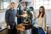 CAFFEINE EXPERTS: David Beattie and Tracey Lee with their roasting machine