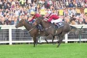 DARK ARTS: Dark Reckoning ridden by Graham Lee (left) wins The William Hill Firth of Clyde Stakes race during day three of the 2014 William Hill Ayr Gold Cup Festival at Ayr Racecourse