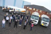 Some of Oil NRG's staff and tankers at  its new Stockton head office.