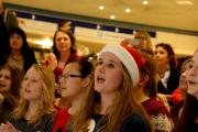 SING TO WIN: Members of the Queen Elizabeth Sixth Form College's Rock Choir perform after winning the Cornmill Chorus Sing to Win competition at the Cornmill Shopping Centre in Darlington. Picture: DAVID WOOD (14905297)