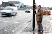 DELAY: Dorothy Brenkley at one of the pedestrian crossings on the re-developed ring road in Darlington, where she believes there is a too-long waiting time for the lights to change for pedestrian trying to cross. Picture: CHRIS BOOTH