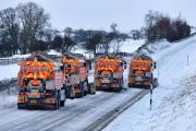 A convoy of snow ploughs clear the A66 dual carriageway opening access between County Durham and Cumbria. Picture: NORTH NEWS