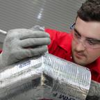 Darlington and Stockton Times: Apprentice Bradley Wright, 23, at the re-developed Thermal Insulation Contractors Association (TICA) training facility on Yarm Road Business Park, Darlington