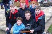 The winning scout team, Holmedale: Thomas Chandler, Will Tompson, Harry and Joe Mawer and James and Matthew Anderson