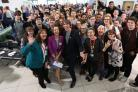Prof Brian Cox and Zoe Lewis, college principal and chief executive, celebrate the opening with staff and students