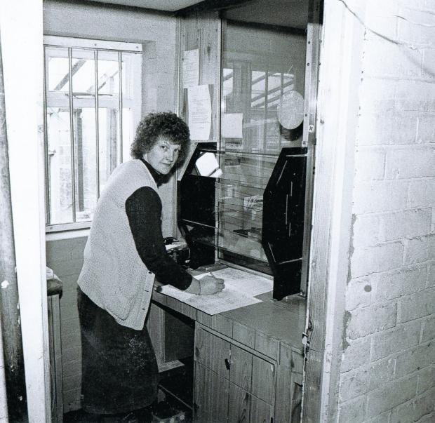 Darlington and Stockton Times: Sheila Fawcett was running Scruton post office in her wash-house when this picture was taken in May 1981 (55062529)