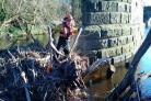 Environment Agency clearing debris from the River Tees near Yarm.