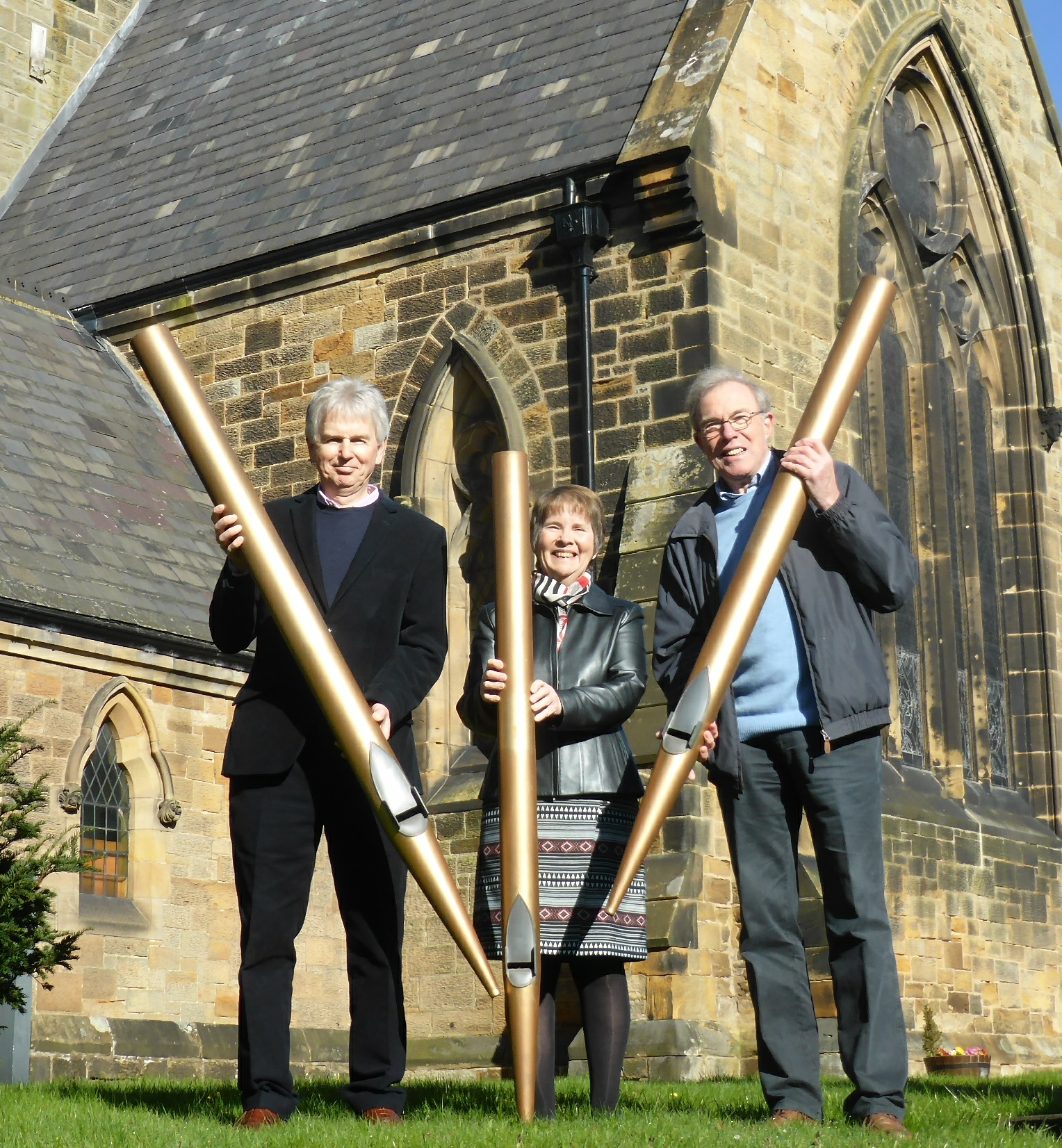 Outside Christ Church in Great Ayton (left to right) churchwardens Martin Simmons and Vicki Nath and treasurer Ken Taylor, who were instrumental in securing the funding