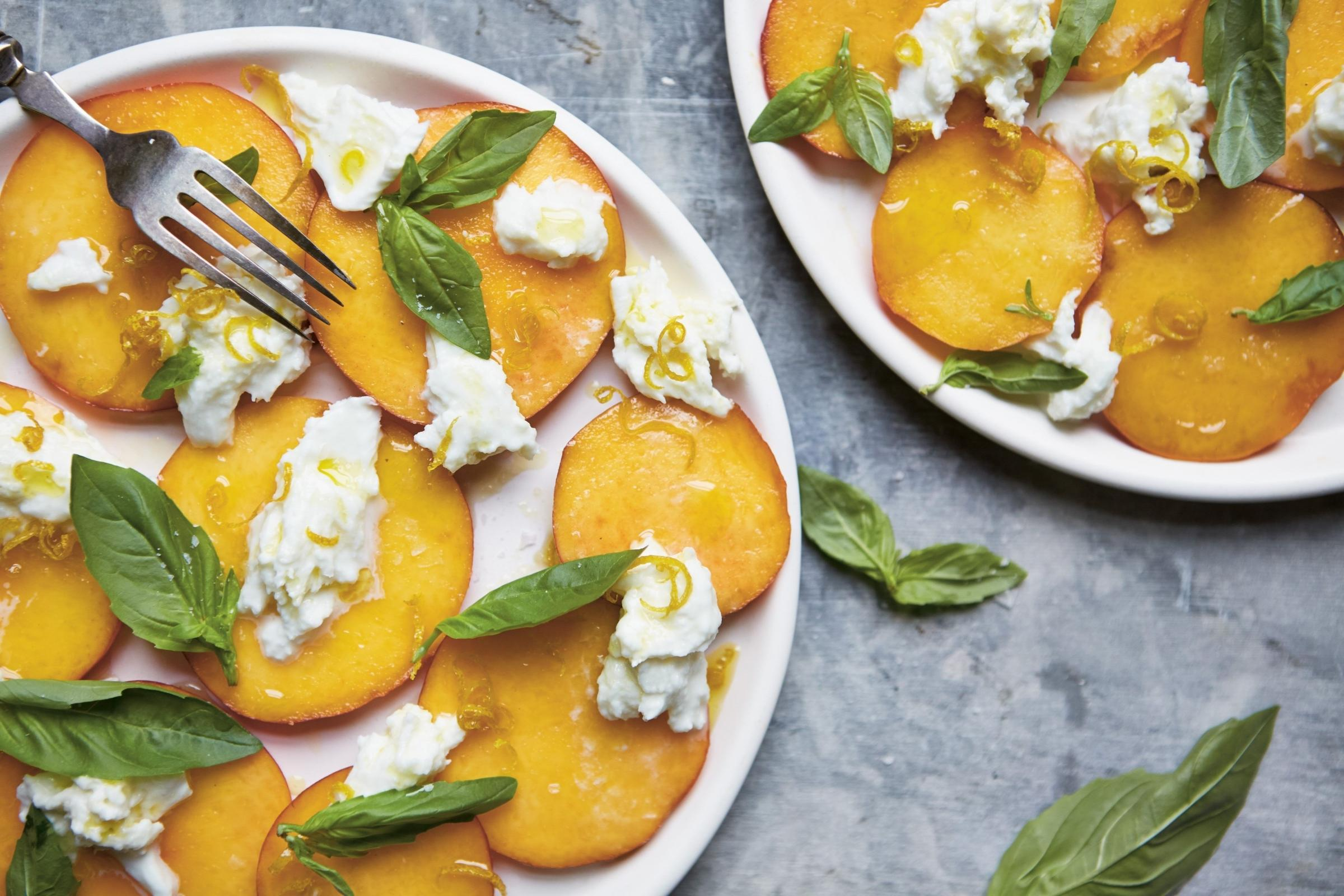 RECIPE: Peach and mozzarella salad with crispy lemon zest and basil
