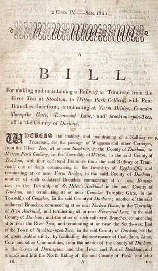 The front page of Francis Mewburn's copy of the Stockton and Darlington Railway Bill, which was granted its Royal Assent on April 19, 1821