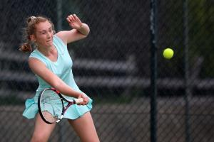 CHAMPION: Ellie Tweddle on her way to victory on the ladies final against Janet Devlin at Blackwell Tennis Club in Darlington. Picture: CHRIS BOOTH