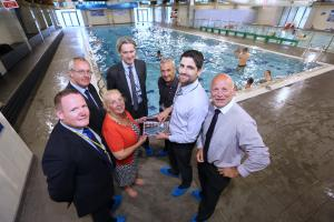 POOL: Hambleton District Council chief executive Justin Ives with councillors Bridget Fortune and Mark Robson, with leisure centre managers Steve Lister, Mike Readman, Dave Ashbridge and Steve Prentice at the revamped centre