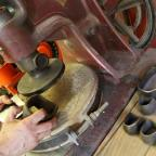 Darlington and Stockton Times: Heel shapes and the belt-driven 1928 heel press made by Standard English of Leicester.