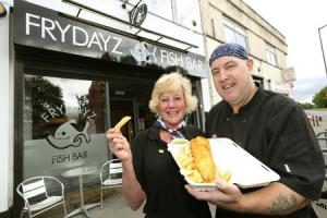 Tina and Peter Collins outside their fish and chip shop in Catterick Garrison which has been nominated for an award. Picture: Richard Doughty Photography