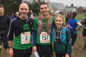 L-R Jim Coldwell, Tim Grimwood, Becky Barnett at the Black Combe race
