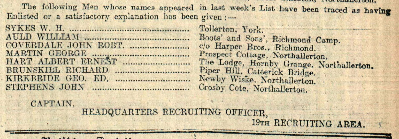 Albert Hart was in the clear, according to this notice in the Darlington & Stockton Times of April 14, 1917