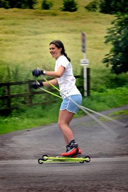 Stephanie Cook on her roller skis