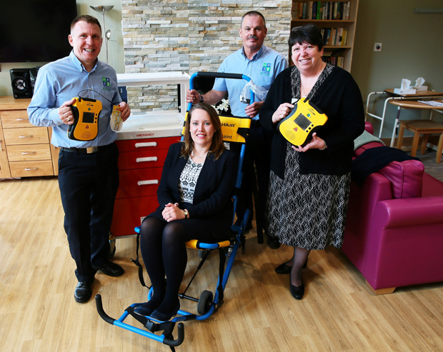 Darlington and Stockton Times: PRESENTATION: First Aid equipment, bought with money from the Gannett Foundation, is presented to Willow Burn Hospice pictured Gary Williams Ops manager for Mines Rescue Service, Katherine Luke Income generator manager, Rob Colledge also from Mines Rescue