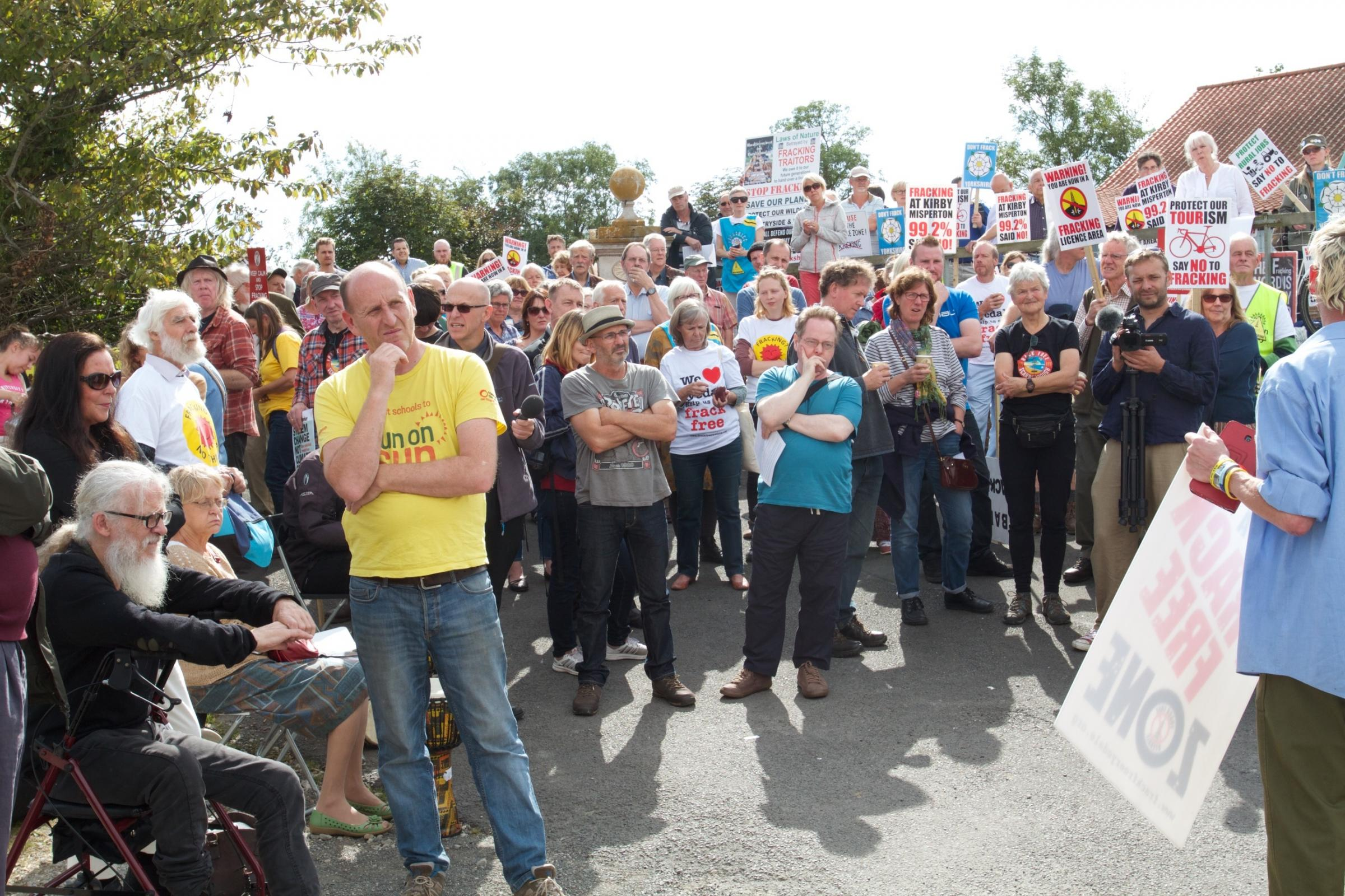 Protesters held a peaceful rally ahead of an information evening held by Third Energy at Kirby Misperton Village Hall