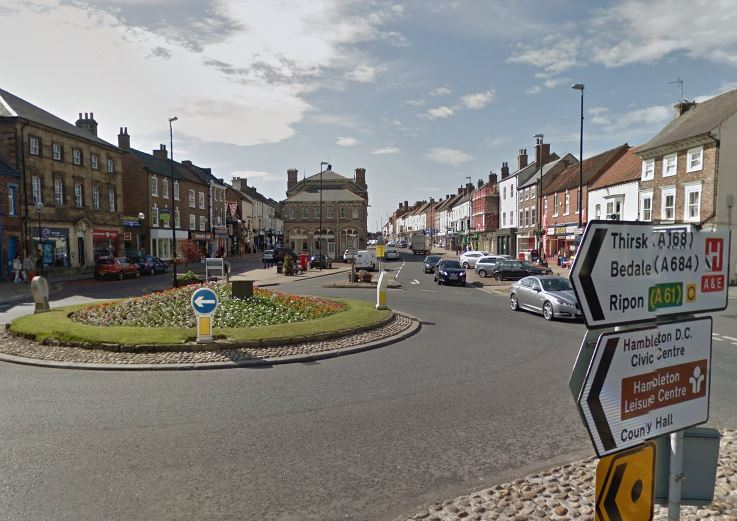 Northallerton High Street, where police spotted Ernestas Kojelis driving his Saab at high speed around roundabouts.