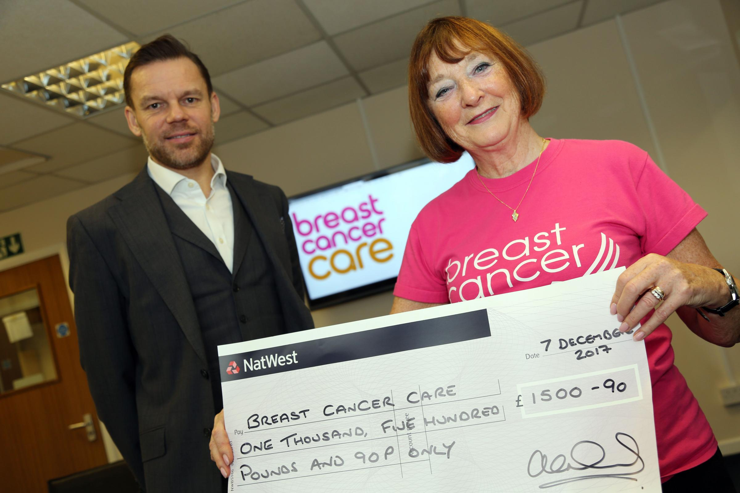 DONATION: Breast Cancer Care volunteer Maureen Bain receives a cheque for £1,500 from MI Supplies managing director Alex Ingham