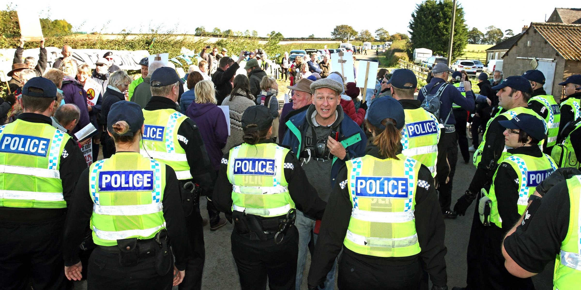 PROTESTS: Police and anti-fracking campaigners outside the fracking site at Kirby Misperton. Picture: Richard Doughty Photography.