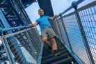 "CHALLENGE: Callum Campbell, from Watt Fitness, at the Transporter Bridge to launch ""Vertical Rush"", which will see those registered race up the 209 steps of Middlesbrough's Transporter Bridge Picture: TOM BANKS"