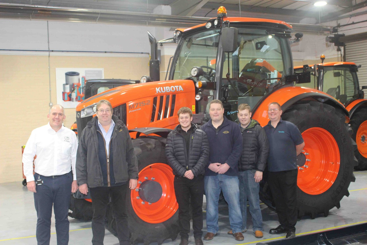 Rob Edwards Kubota's Business Development Manager for Agriculture, H Pigney & Son Director David Pigney, Pigney employees Chris Pigney, Andrew Woof & Will Farrell, Kubota product manager for Agriculture Rob Fox.