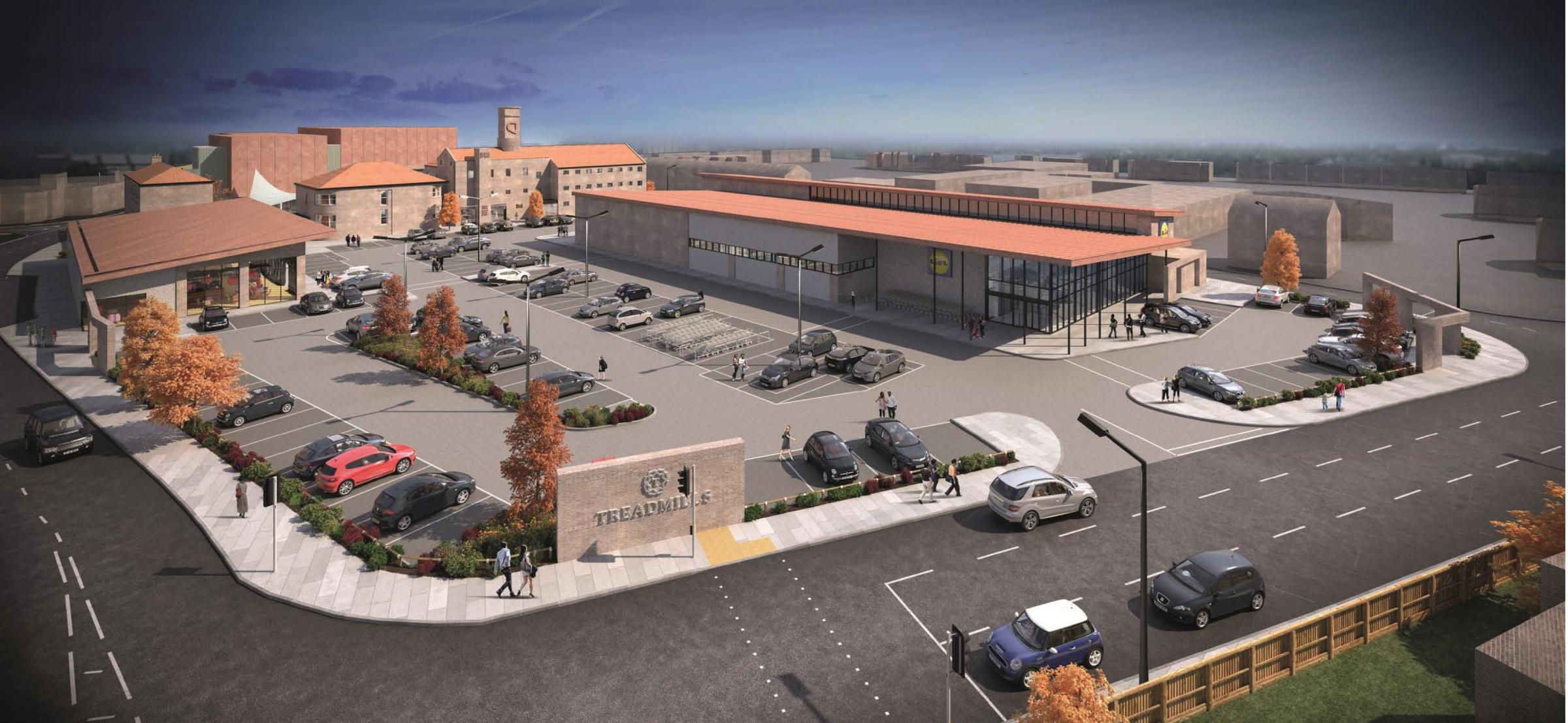 CENTRE: An artist's impression of the redeveloped former prison site in Northallerton, Treadmills, where Lidl is due to be the anchor store