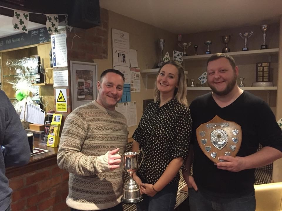 Allerton Players members Simon Gibson (best actor), Katie Bowie (nominated best director) and Chris Donnelly (best comedy moment).