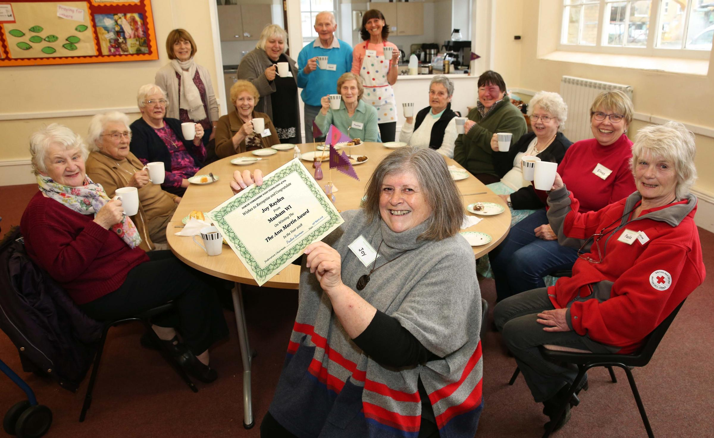 WINNER: Joy Rayden with her WI award with the Wednesday Club at Masham Methodist church hall Picture: RICHARD DOUGHTY PHOTOGRAPHY