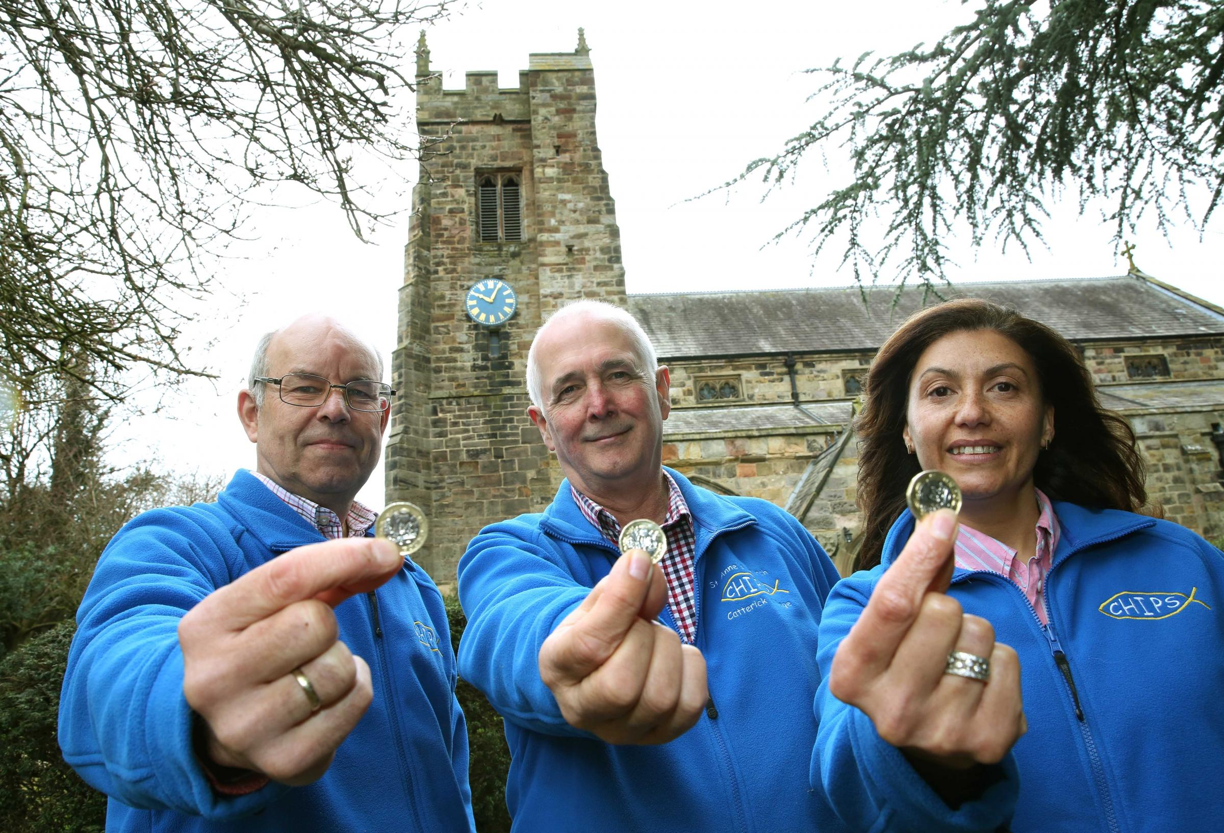 COSTS: Graham Bannister, Martin Greaves and Lana Morris in appeal for £1 per week from parishioners at St Anne's Church, Catterick village to cover running costs of the church. Picture: Richard Doughty Photography