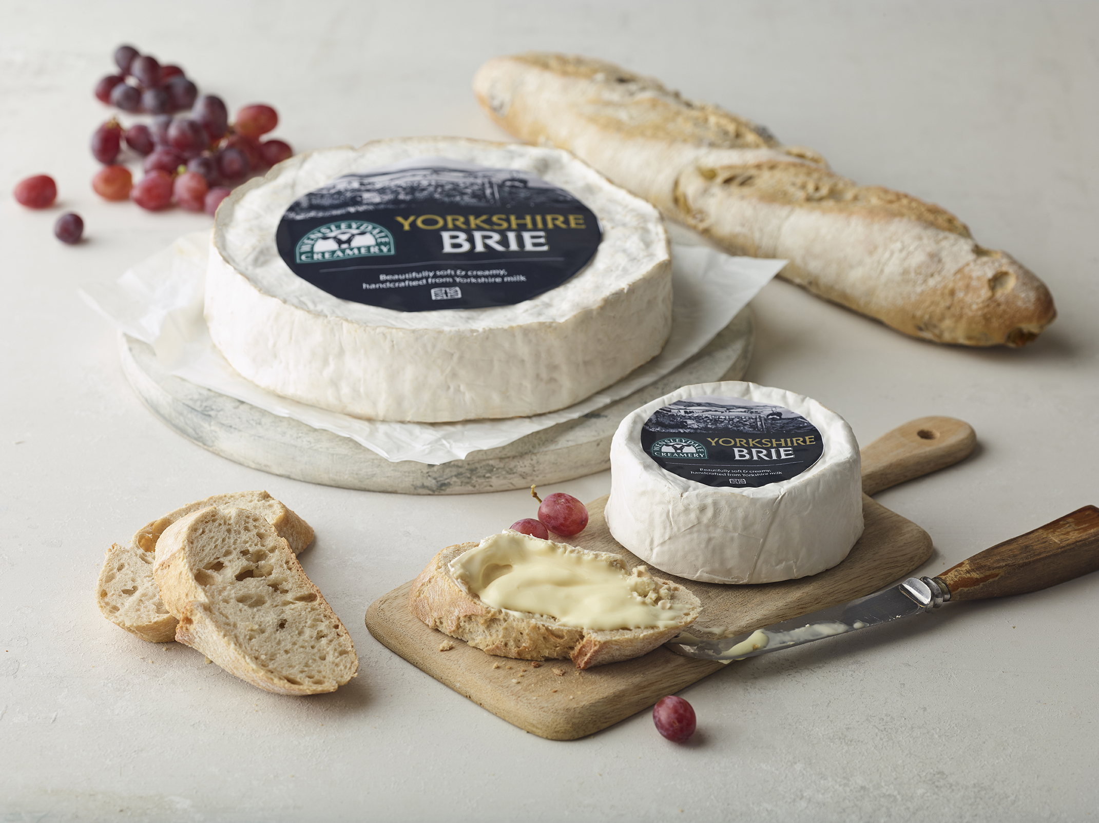 Yorkshire Brie, truckle and wheel