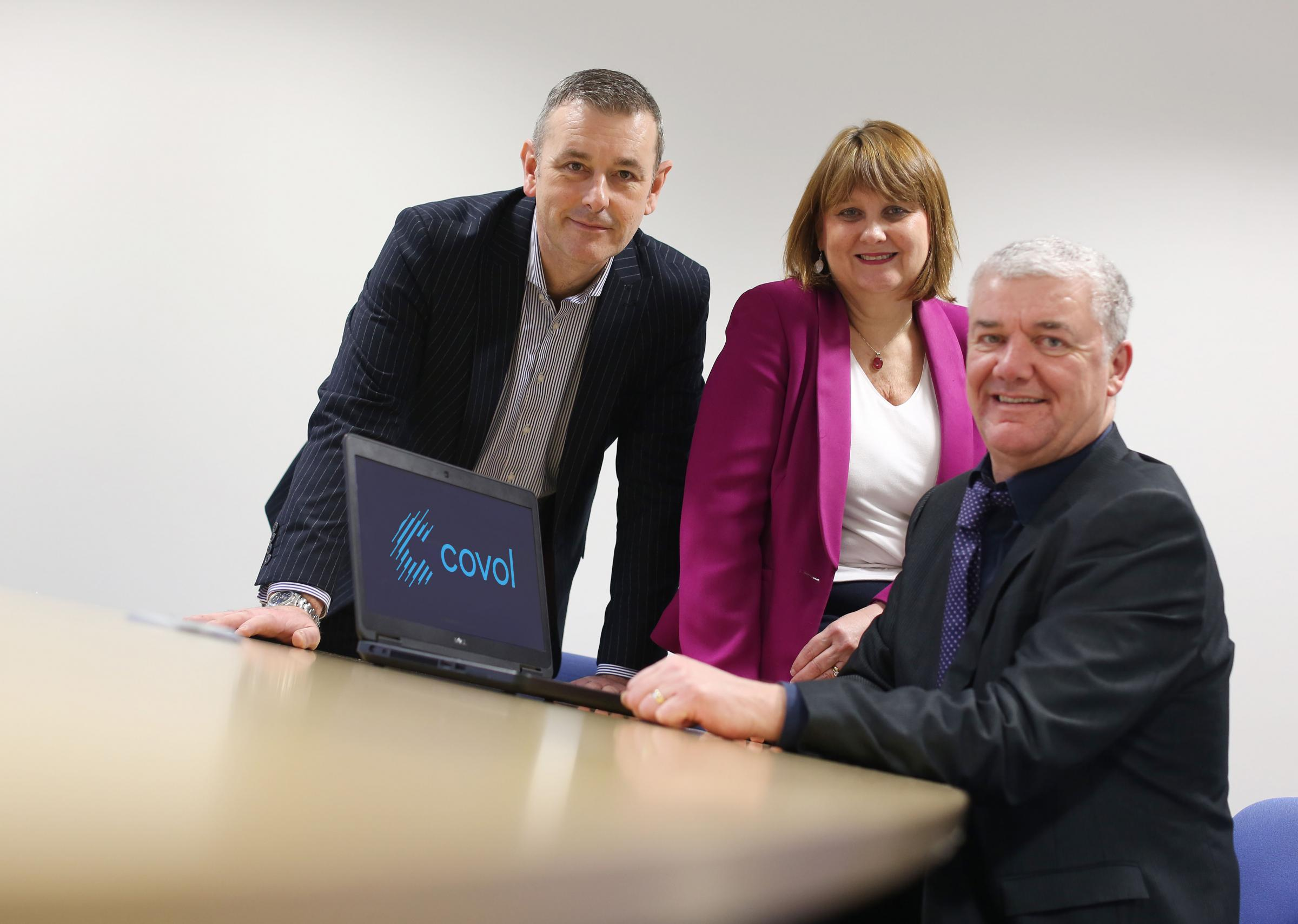 (l - r): Peter Taylor of UK Steel Enterprise, Nicky Atkinson of FW Capital and Jeremy Gadd of Covol Engineering.