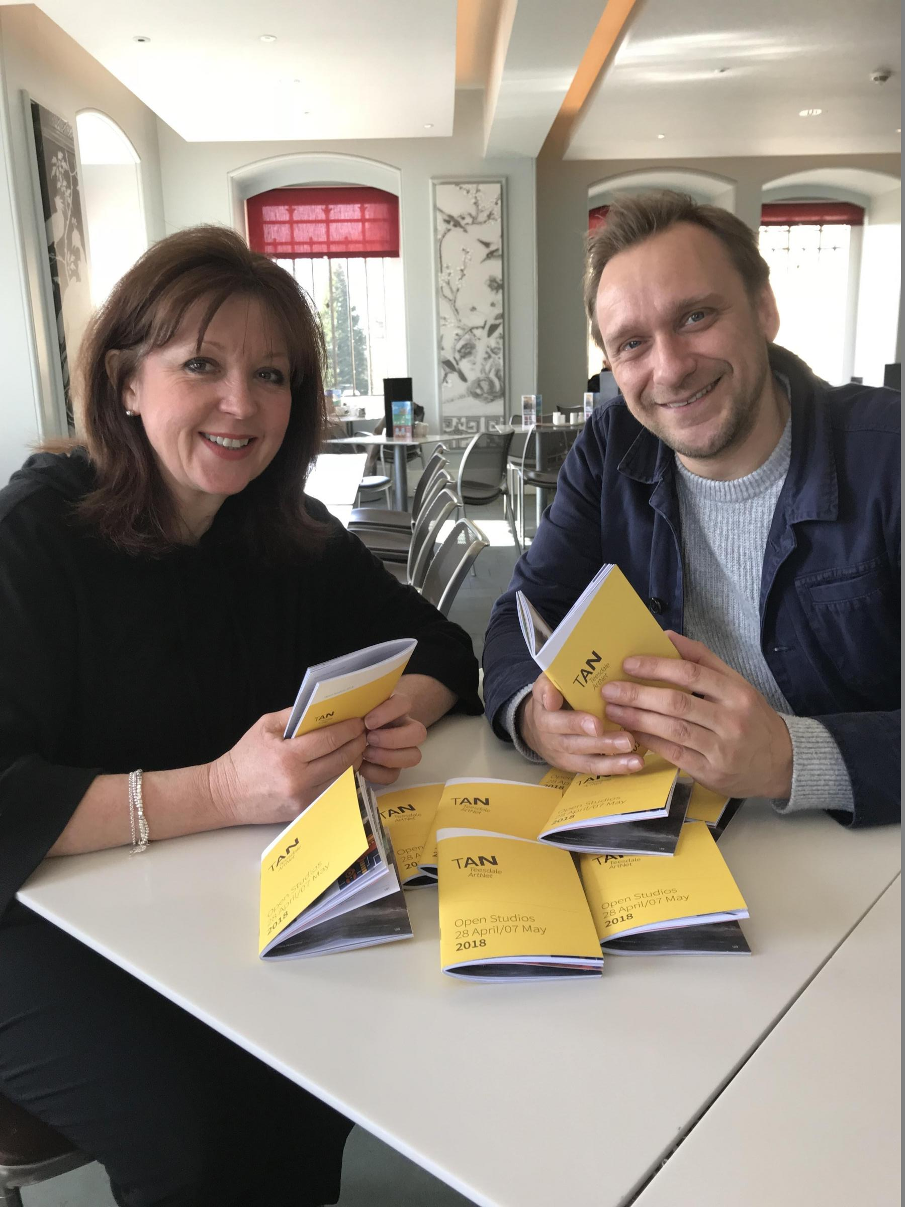 ARTISTS: Jane Young and Ryan Plews with the new brochures