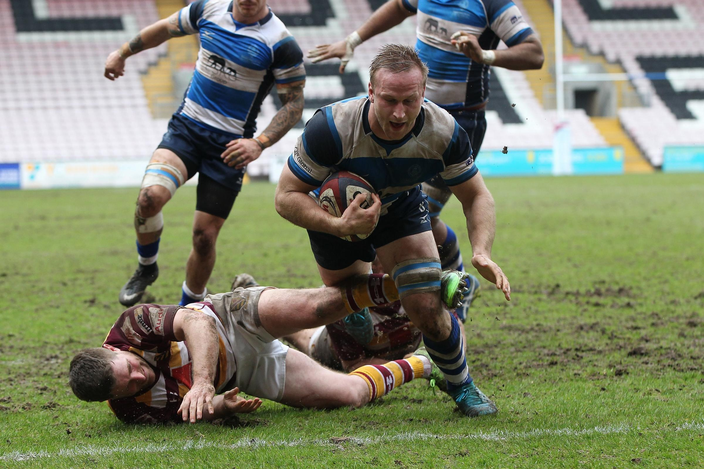 Matt Heaton of Mowden powers hsi way through the Fylde defence to score during the National Division 1 match between Darlington Mowden Park and Fylde Rugby Club. Picture: Mark Fletcher, Shutter Press