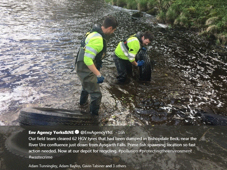 The Environment Agency's tweet on the fly-tipped lorry tyres left downstream of Aysgarth Falls