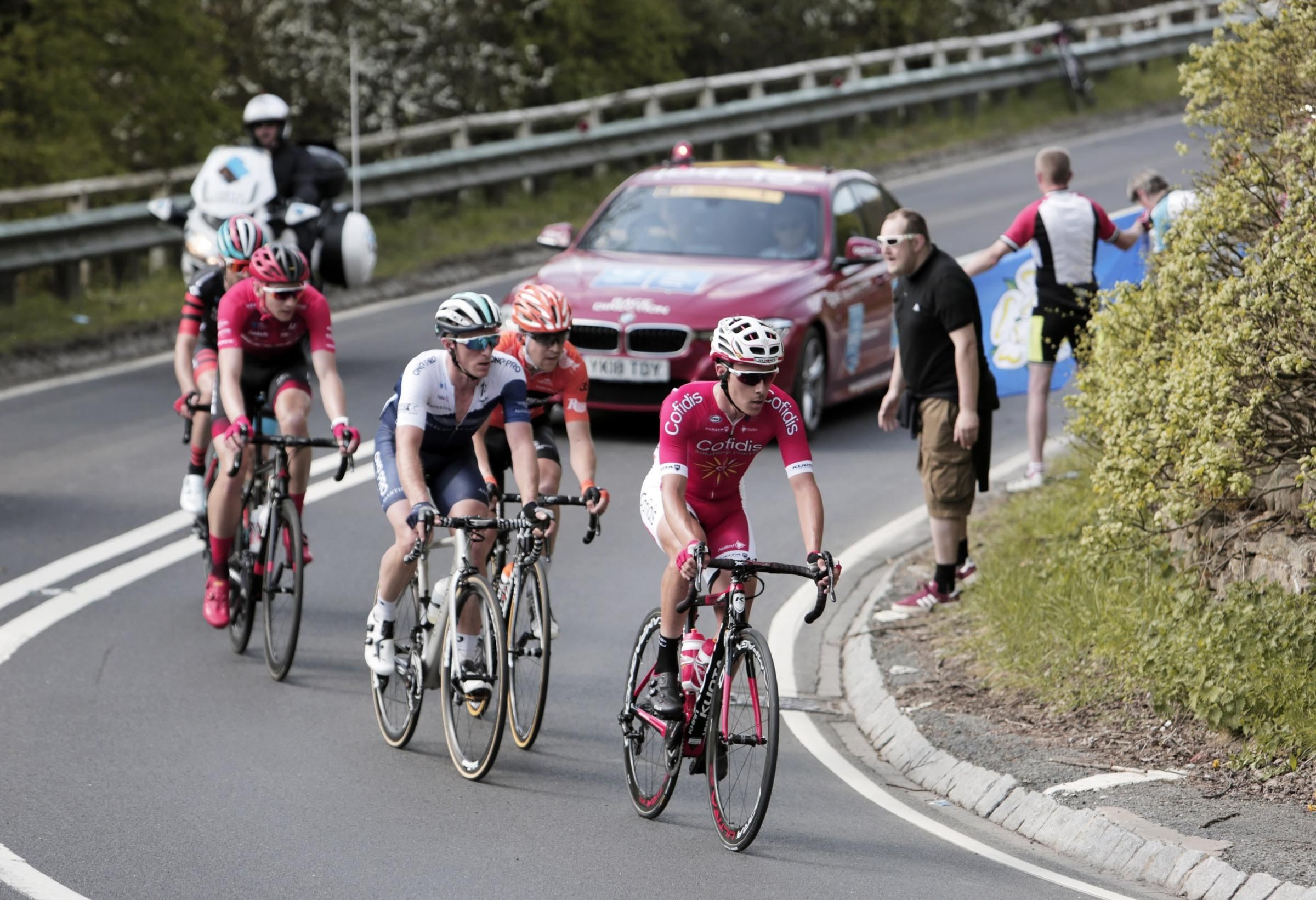 A break away group make their way up Sutton Bank in North Yorkshire in this year's Tour de Yorkshire. Picture: Stuart Boulton