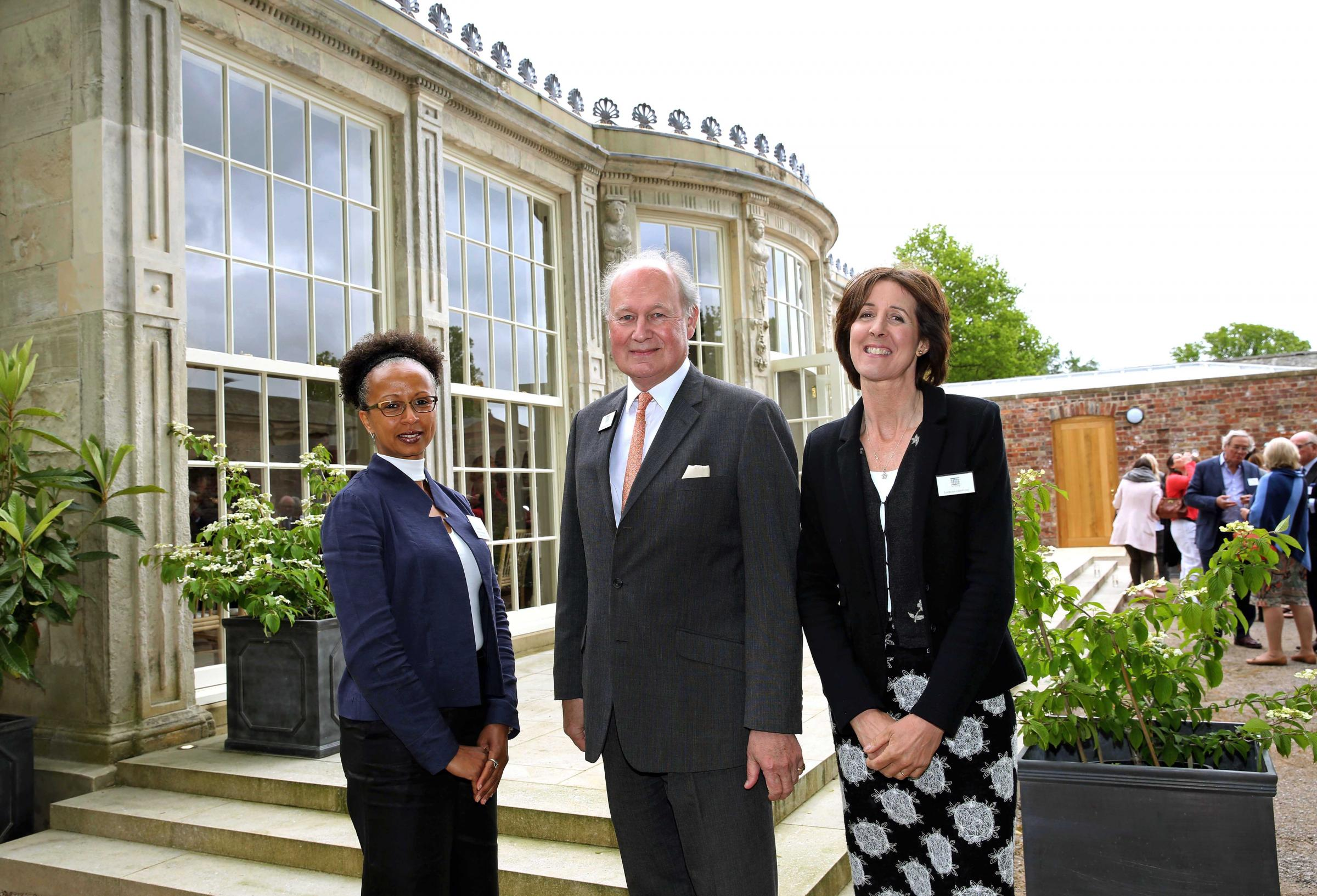 Architect Susan Amaku with Richard and Lucinda Compton outside the newly restored Orangery at Newby Hall.  Picture: Richard Doughty Photography
