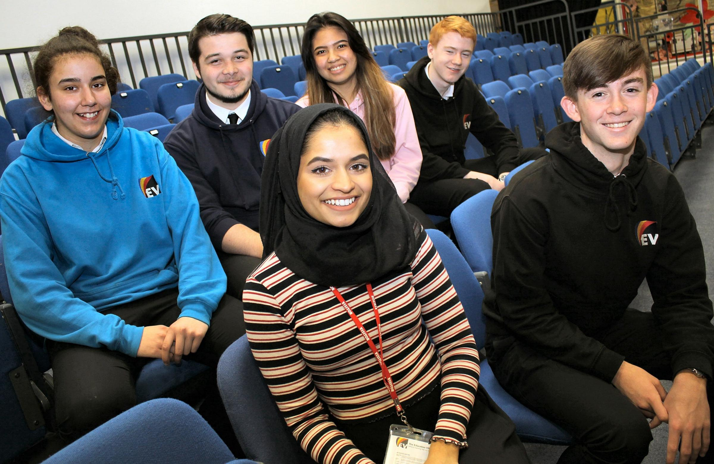 Darlington councillor Sharifa Rahman, 19, with GCSE students from Haughton Academy, from left, Tia Hans, 16, Jack Young, 16, Ashley Alivio, 16, Jack Clark, 16 and Luke Robinson, 16