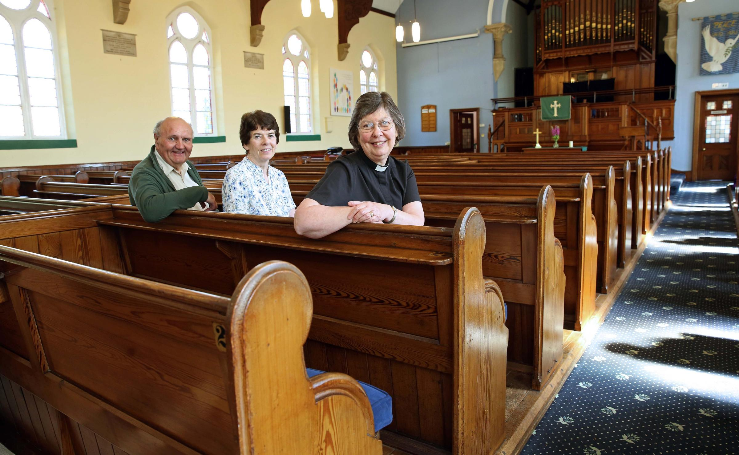 READY: The Rev Kathleen Wood with chair of the development committee, Lister Baynes and senior steward, Clare Dalton inside Bedale Methodist church.  Picture: Richard Doughty Photography.