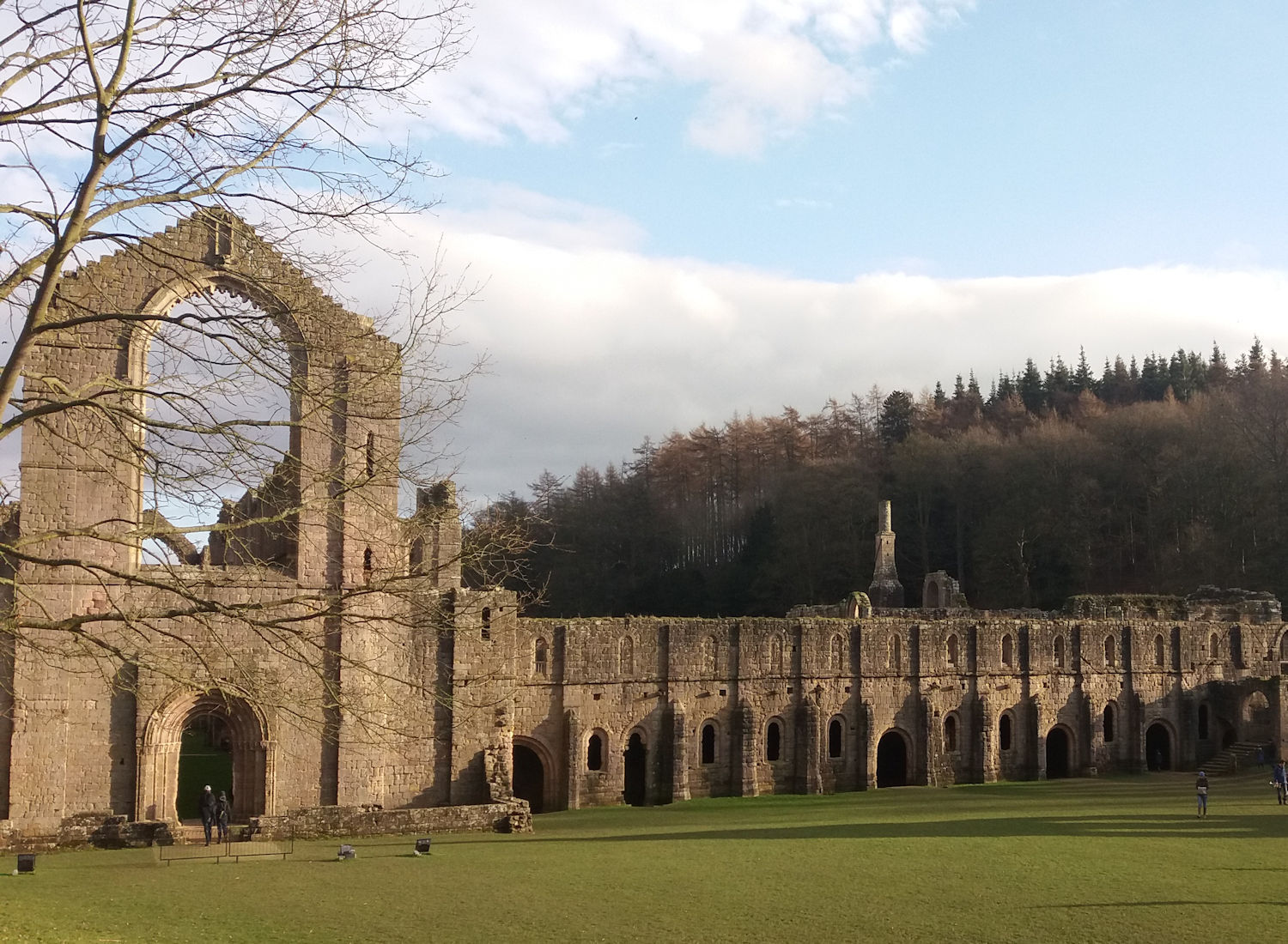 Fountains Abbey cloisters from outside.
