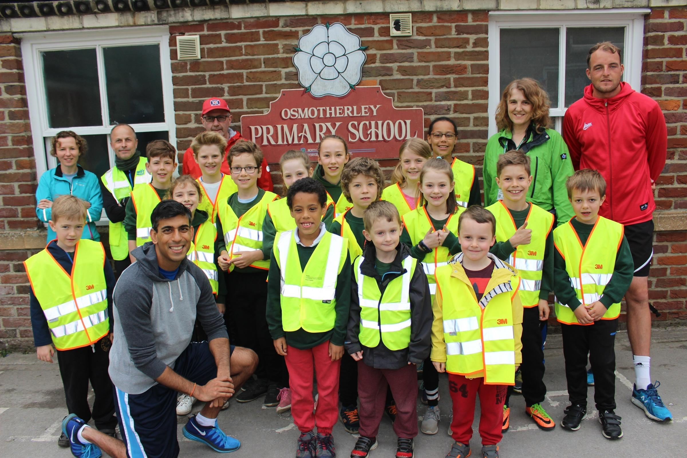 Richmond MP Rishi Sunak donned his running gear to support Osmotherley Primary School's running initiative
