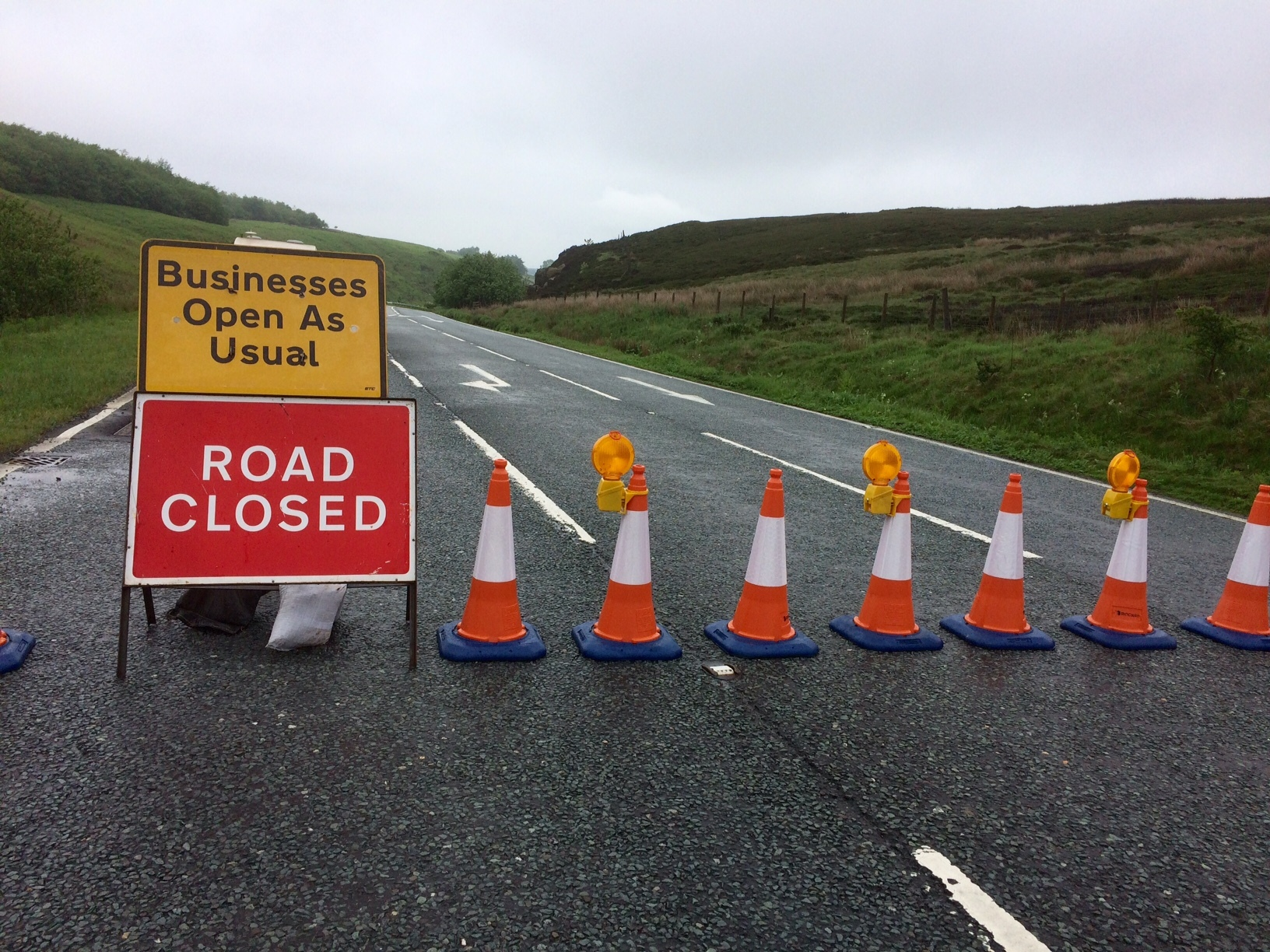Road closure at Kex Gill