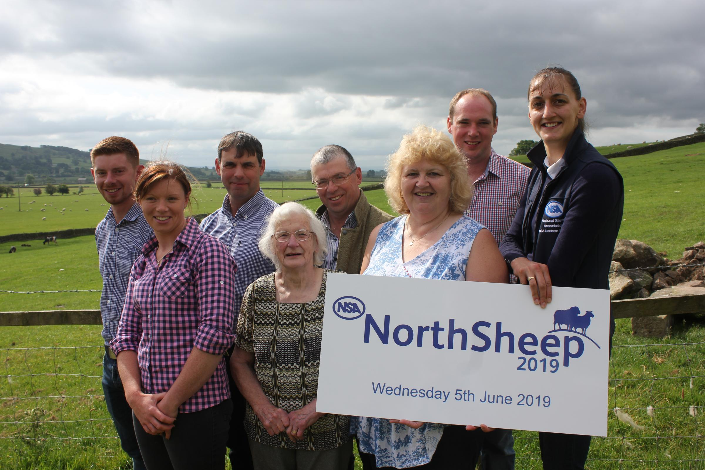 The Frankland family, of New Hall Farm, near Settle, hosts of NSA North Sheep 2019, with Heather Stoney-Grayshon, Northern regional manager and events organiser at NSA ,right