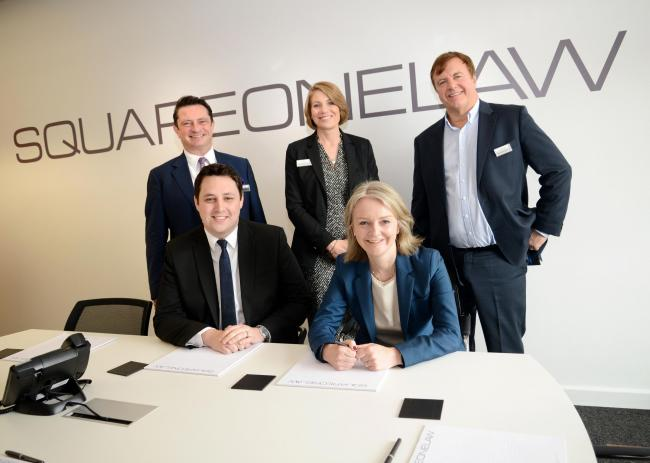 Back row, from left, Square One Law's EU and Competition partner Neil Warwick; managing partner Gill Hall; and senior partner Ian Gilthorpe.Front row: Tees Valley Mayor Ben Houchen and Chief Secretary to the Treasury Liz Truss MP at the official openi