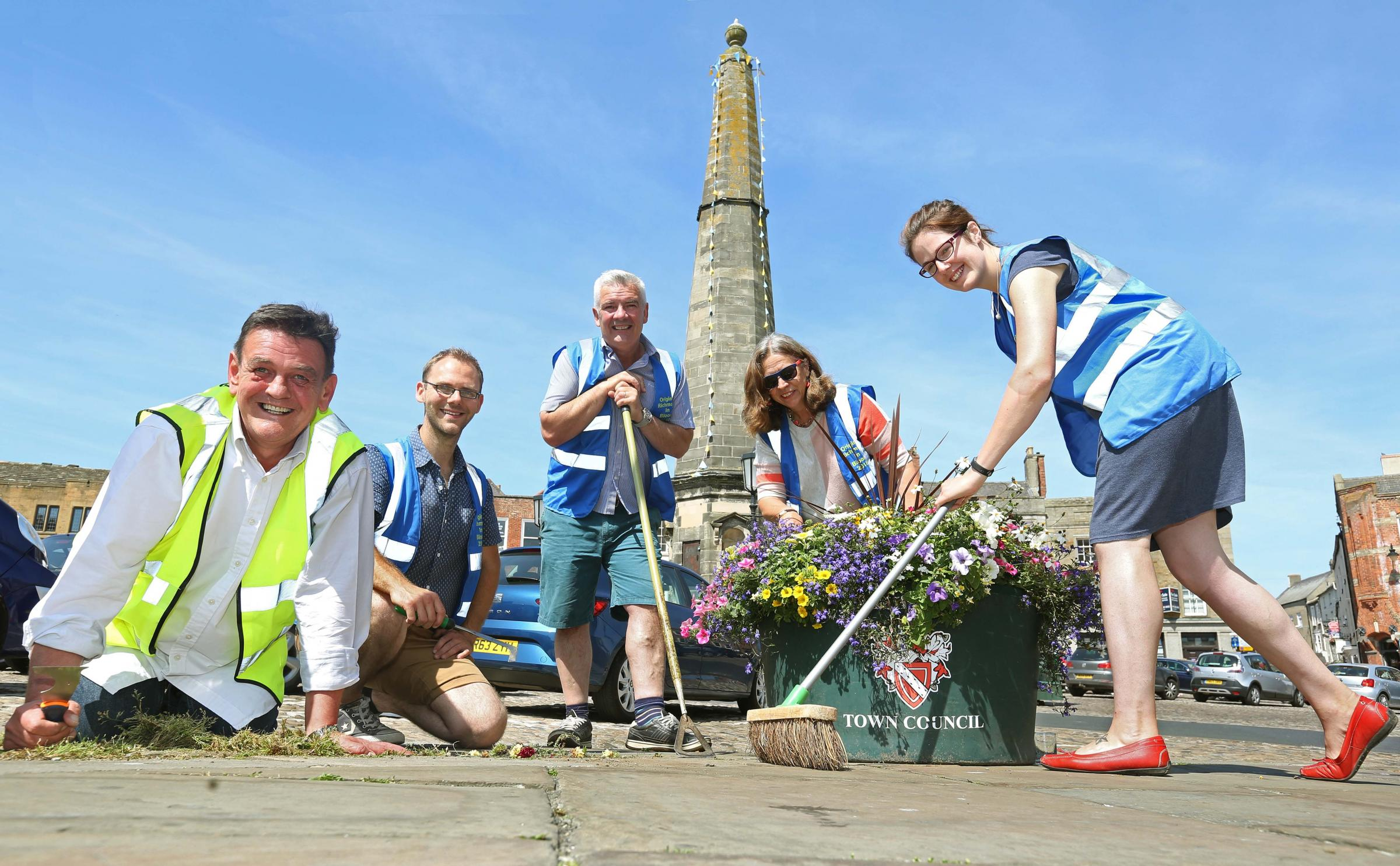 BLOOM: Stuart Parsons, David Morton, Dennis Graves, Marcia McLuckie and Loo Morton appealing for more volunteers to help get Richmond ready for Britain in Bloom judges. Picture: Richard Doughty Photography